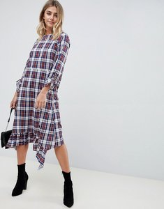 Read more about Asos design soft trapeze midi dress with pephem in check - multi
