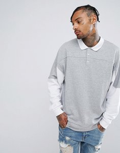 Read more about Asos oversized rugby sweatshirt with cut sew - grey marl