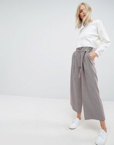 Read more about Asos tailored coloured houndstooth check wrap front d ring culotte - check