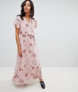 Read more about Vila floral wrap maxi dress - adobe rose