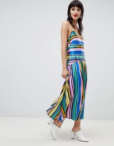 Read more about Asos design pleated cami button through midi dress in stripe - multi
