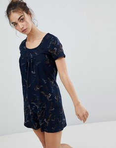 Read more about Qed london butterfly printed tunic dress - navy