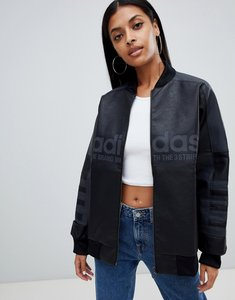 Read more about Adidas originals aa-42 faux leather track jacket in black - black
