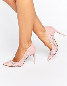 Read more about Dune london bridal buffie lace pointed court shoes - pink