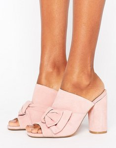 Read more about Kg by kurt keiger jessika pink suede bow heeled mules - pink suede