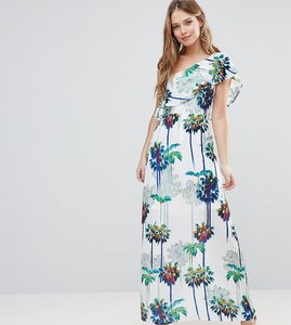 Read more about Every cloud hazey palm print one shouder maxi dress - hazey palm print