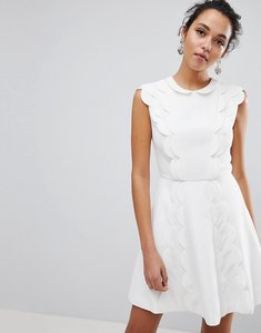 Read more about Ted baker triski a-line skater dress with scalloped panel - ivory