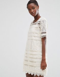 Read more about Mango short sleeve crochet shift dress - white