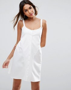Read more about Asos mini smock babydoll dress with button detail - cream
