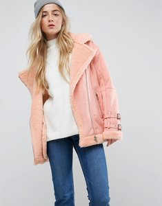 Read more about Asos aviator jacket in faux suede - coral