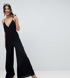 Read more about Asos design tall deep v strap back jumpsuit - black