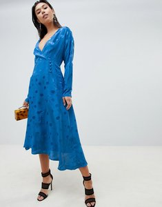 Read more about Asos design wrap maxi dress with long sleeve in jacquard - colbalt blue