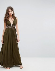 Read more about French connection hasan beading halter maxi dress - military green