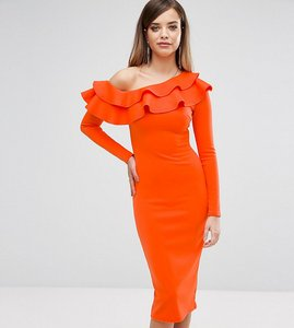 Read more about Club l one shoulder frill detail long sleeve midi dress - orange