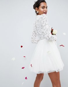 Read more about Asos edition embellished tulle mesh mini wedding dress - cream