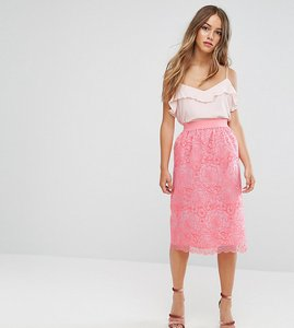 Read more about Asos petite exclusive premium floral organza midi skirt - coral