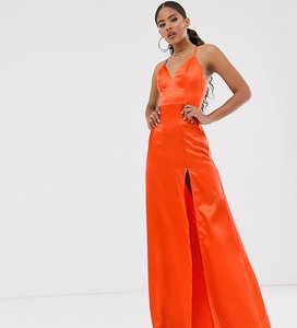 Read more about Club l london tall satin plunge front maxi dress with high thigh split in orange