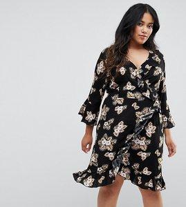 Read more about Club l plus 3 4 sleeve detailed wrap black floral day dress - black floral