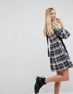 Read more about Asos check smock mini dress with grosgrain detail - multi