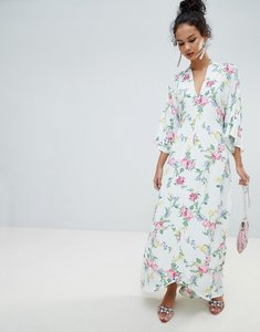 Read more about Miss selfridge kimono sleeve floral tie back maxi dress - white based print