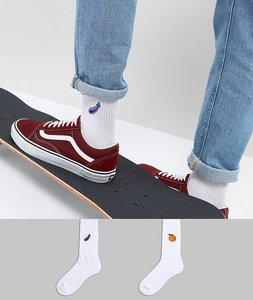 Read more about Asos sports style socks with fruit embroidery 2 pack - multi