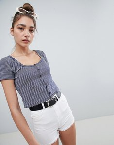 Read more about Asos design top in stripe with button placket - multi