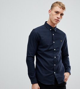 Read more about Farah stretch skinny fit buttondown oxford shirt in navy - navy