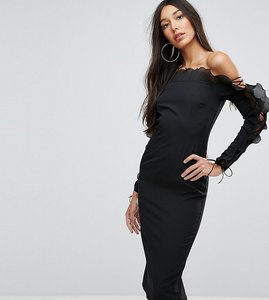 Read more about Missguided tall fluted frill bardot bodycon midi dress - black