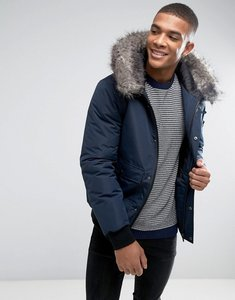 Read more about D-struct faux fur trimmed mid length parka - navy
