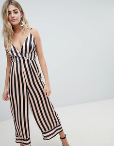 Read more about Missguided cami stripe culotte jumpsuit - pink black stripe