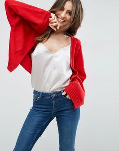Read more about Asos crop cardigan with wide sleeves - red