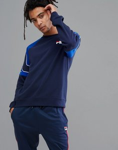 Read more about Fila black line sweatshirt with embroidered sleeve logo in navy - navy