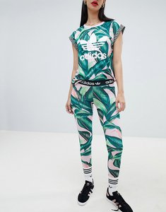 Read more about Adidas originals x farm leggings with trefoil logo in palm print - multicolor