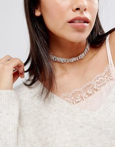 Read more about Johnny loves rosie diamante choker necklace - silver crystal