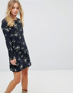 Read more about Glamorous long sleeve swing dress in grunge floral - black