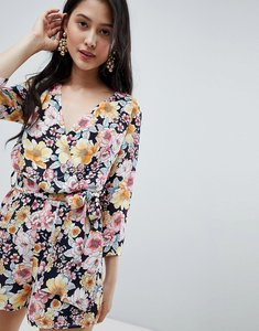 Read more about Oh my love wrap front 3 4 sleeve playsuit in floral print - yellow floral