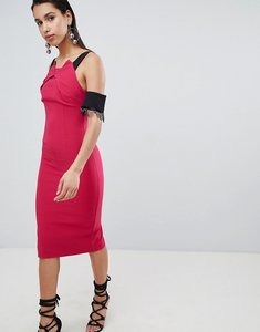 Read more about The 8th sign pencil midi dress with lace sleeve detail - pink