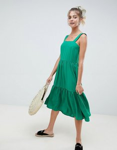 Read more about Asos design midi tiered sundress - emerald green