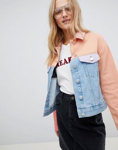 Read more about Asos denim jacket in colourblock - multi