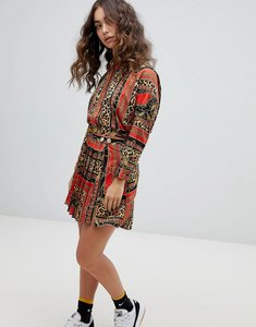 Read more about Asos design animal scarf print wrap mini skirt co-ord - red multi