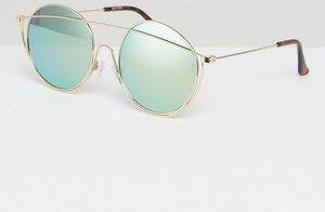 Read more about Asos high bar round sunglasses with gold flash lens - gold