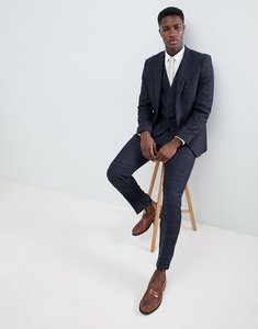 Read more about French connection tweed square slim fit heritage suit trousers - dark blue