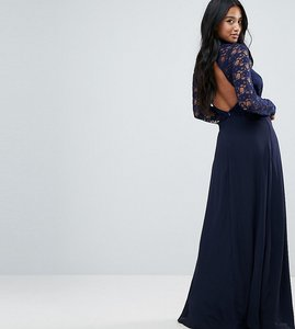 601c81d03b Read more about John zack petite over lace top maxi dress with open back -  navy