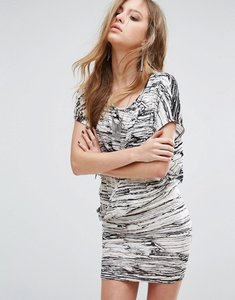 Read more about Religion wrap front dress in marble print - white