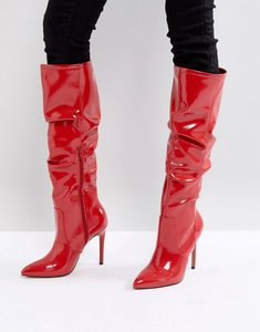 Read more about Asos crushed slouch pointed knee boots - red patent