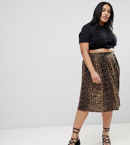 Read more about Asos design curve box pleat midi skirt in leopard print - multi