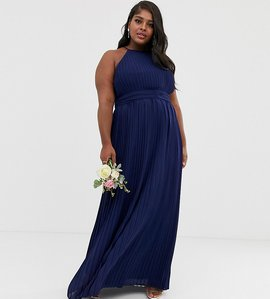 Read more about Tfnc plus bridesmaid exclusive high neck pleated maxi dress in navy