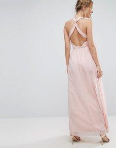 Read more about Little mistress high neck maxi dress with open back - nude floral print