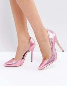 Read more about London rebel open point high heels - metallic pink