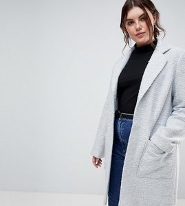 Read more about Asos design curve slim coat in texture - grey